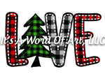 Christmas 264 - Love Christmas Tree Buffalo Plaid - Sublimation Transfer Set/Ready To Press Sublimation Transfer/Sublimation Transfer