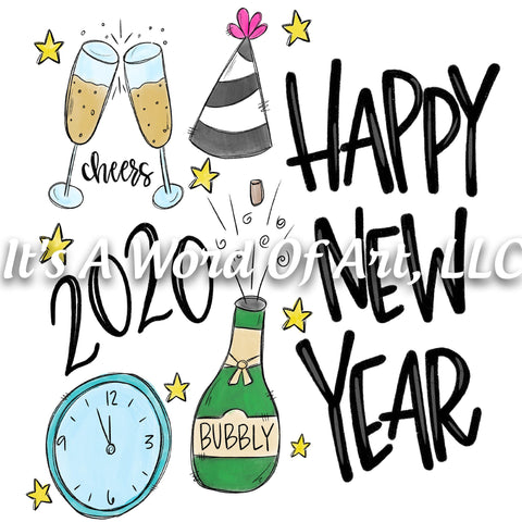 New Years 10 - Happy New Year 2020 Bubbly Cheers - Sublimation Transfer Set/Ready To Press Sublimation Transfer/Sublimation Transfer