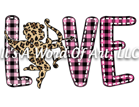 Valentines Day 5 - LOVE Cupid Buffalo Plaid Leopard - Sublimation Transfer Set/Ready To Press Sublimation Transfer/Sublimation Transfer
