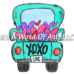 Valentines Day 32 - XOXO Truck Big Blue Truck Love - Sublimation Transfer Set/Ready To Press Sublimation Transfer/Sublimation Transfer