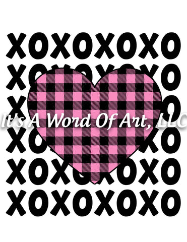 Valentines Day 89 - XO XO XO Repeated Plaid Heart - Sublimation Transfer Set/Ready To Press Sublimation Transfer/Sublimation Transfer
