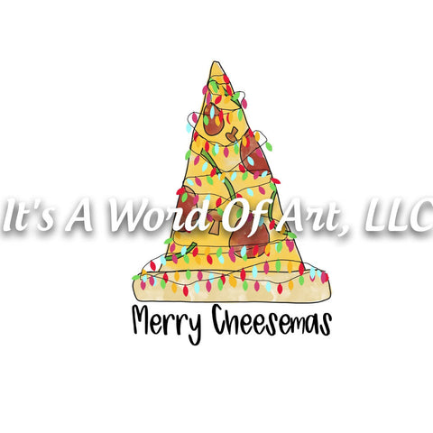 Christmas 275 - Merry Cheesemas Pizza Tree - Sublimation Transfer Set/Ready To Press Sublimation Transfer/Sublimation Transfer
