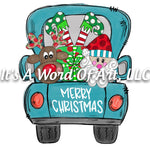 Christmas 230 - Merry Christmas Blue Truck Santa - Sublimation Transfer Set/Ready To Press Sublimation Transfer/Sublimation Transfer
