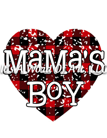 Valentines Day 107 - Mama's Boy Buffalo Plaid Grunge - Sublimation Transfer Set/Ready To Press Sublimation Transfer/Sublimation Transfer