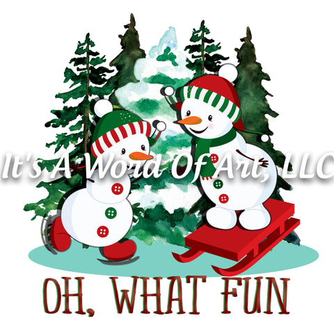 Christmas 180 - Oh What Fun Snowmen Snowball Fight - Sublimation Transfer Set/Ready To Press Sublimation Transfer/Sublimation Transfer