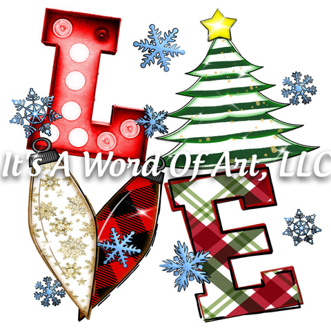 Christmas 165 - LOVE- Christmas Plaid Stripes Tree - Sublimation Transfer Set/Ready To Press Sublimation Transfer/Sublimation Transfer