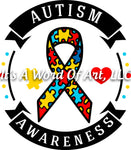Autism 5 - Autism Awareness Puzzle Piece Ribbon Autism Awareness - Sublimation Transfer Set/Ready To Press Sublimation Transfer