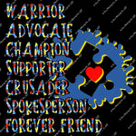 Autism 50 - Autism Supporters Warrior Advocate Champion Supporter Crusader - Sublimation Transfer Set/Ready To Press Sublimation Transfer