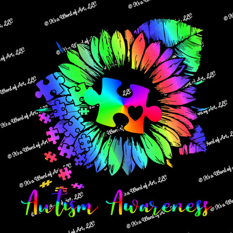 Autism 54 - Autism Awareness Rainbow Sunflower Gradient Puzzle Piece - Sublimation Transfer Set/Ready To Press Sublimation Transfer