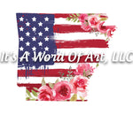 Americana Flowers 13 - Arkansas AR State Americana Flowers Rustic Outline - Sublimation Transfer Set/Ready To Press Sublimation Transfer