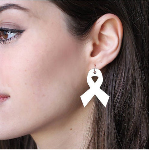 Sublimation Earring Blank MDF - Awareness Ribbon Shape - Sublimatable MDF White Earrings - No Hardware Included - Ready to Press