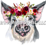 Animals 36 - Pig with Flowers Watercolor Pot Belly Pig Cute Funny T-Shirt - Sublimation Transfer Set/Ready To Press Sublimation Transfer