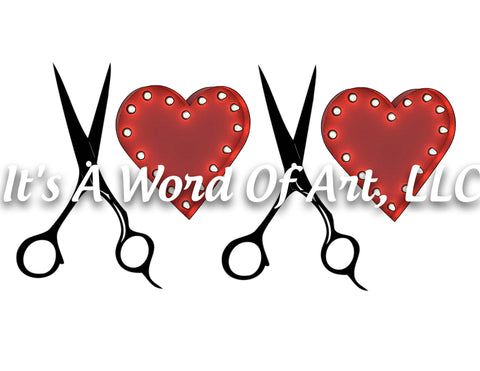 Valentines Day 69 - XOXO Heart Barbershop Salon Scissors - Sublimation Transfer Set/Ready To Press Sublimation Transfer/Sublimation Transfer