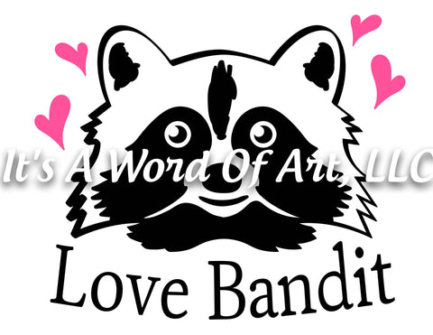 Valentines Day 82 - Love Bandit Raccoon Heart - Sublimation Transfer Set/Ready To Press Sublimation Transfer/Sublimation Transfer