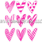Valentines Day 97 - Pink Hearts 3x3 - Sublimation Transfer Set/Ready To Press Sublimation Transfer