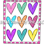 Valentines Day 98 - Pink Hearts 3x3 Frame - Sublimation Transfer Set/Ready To Press Sublimation Transfer