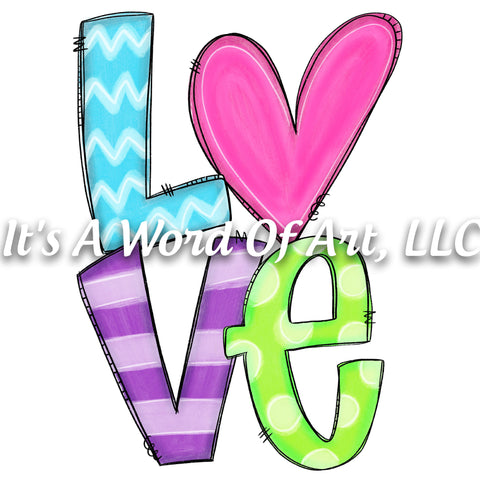 Valentines Day 102 - LOVE Heart Stripes Doodle Letters - Sublimation Transfer Set/Ready To Press Sublimation Transfer/Sublimation Transfer