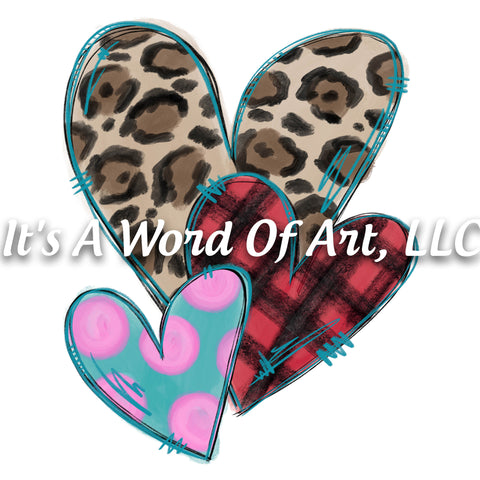 Valentines Day 103 - Leopard Heart Plaid Heart Polka Dot Heart - Sublimation Transfer Set/Ready To Press Sublimation Transfer