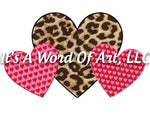 Valentines Day 150 - Leopard Heart Plaid Heart Polka Dot Heart - Sublimation Transfer Set/Ready To Press Sublimation Transfer