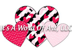 Valentines Day 151 - Stripe Heart Plaid Heart Polka Dot Heart - Sublimation Transfer Set/Ready To Press Sublimation Transfer
