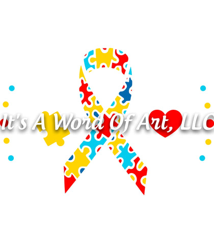 Autism 6 - Autism Awareness Puzzle Piece Ribbon Autism Awareness - Sublimation Transfer Set/Ready To Press Sublimation Transfer