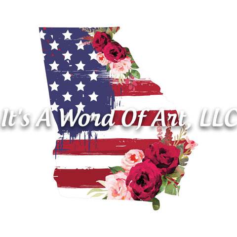 Americana Flowers 5 - Georgia GA State Americana Flowers Rustic Outline - Sublimation Transfer Set/Ready To Press Sublimation Transfer