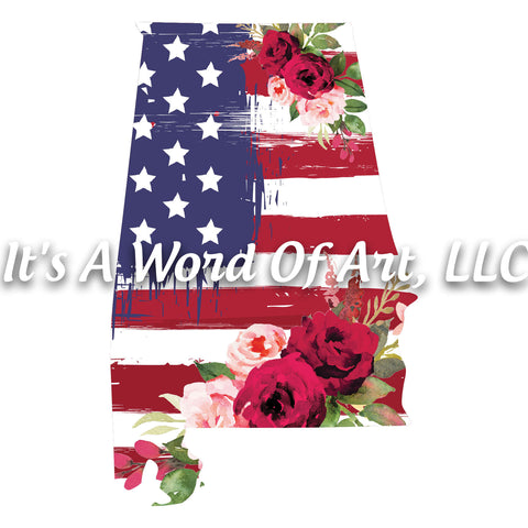 Americana Flowers 7 - Alabama AL State Americana Flowers Rustic Outline - Sublimation Transfer Set/Ready To Press Sublimation Transfer