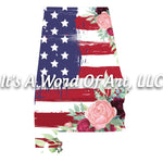Americana Flowers 9 - Alabama AL State Americana Flowers Rustic Outline - Sublimation Transfer Set/Ready To Press Sublimation Transfer