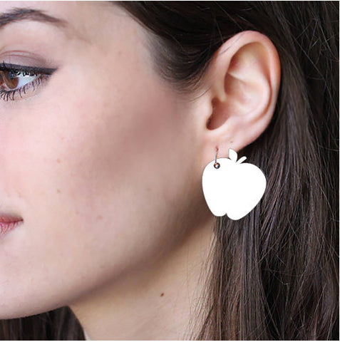 Sublimation Earring Blank Acrylic - Apple Shape - Sublimatable Acrylic White Earrings - No Hardware Included - Ready to Press