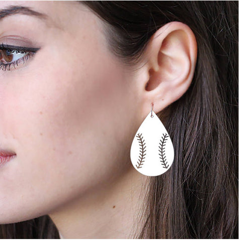 Sublimation Earring Blank MDF - Baseball Shape - Sublimatable MDF White Earrings - No Hardware Included - Ready to Press