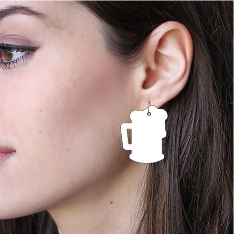 Sublimation Earring Blank Acrylic - Beer Mug Shape - Sublimatable Acrylic White Earrings - No Hardware Included - Ready to Press