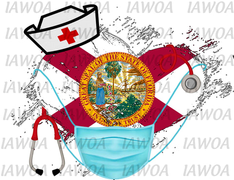 Nurse State Mask 09 - Florida Nurses Emergency Frontline Workers  - Sublimation Transfer Set/Ready To Press Sublimation Transfer