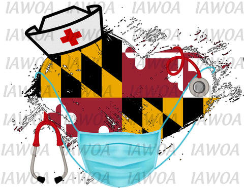 Nurse State Mask 21 - Maryland Nurses Emergency Frontline Workers  - Sublimation Transfer Set/Ready To Press Sublimation Transfer