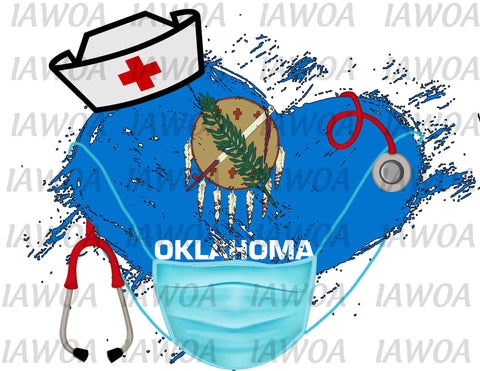 Nurse State Mask 37 - Oklahoma Nurses Emergency Frontline Workers  - Sublimation Transfer Set/Ready To Press Sublimation Transfe