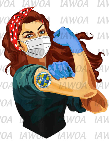 Rosie Riveter 47- Certified Nursing Assistant Frontline Workers Red Hair - Sublimation Transfer Set/Ready To Press Sublimation Transfer