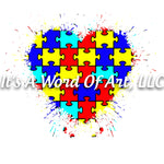 Autism 62 - Puzzle Piece Heart Splatter - Sublimation Transfer Set/Ready To Press Sublimation Transfer - Autism Mom - Autism Awareness Month