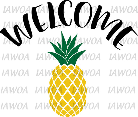 Summer 08 - Welcome Pineapple Welcome Mat Front Door Mat - Sublimation Transfer Set/Ready To Press Sublimation Transfer/Sublimation Transfer