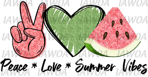 Summer 13 - Peace Love Summer Vibes Watermelon - Sublimation Transfer Set/Ready To Press Sublimation Transfer/Sublimation Transfer