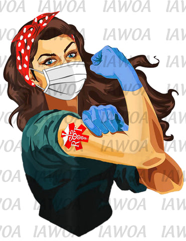 Rosie Riveter 12 - Registered Respiratory Therapist RT Frontline Workers - Sublimation Transfer Set/Ready To Press Sublimation Transfer/