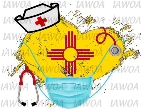 Nurse State Mask 32 - New Mexico Nurses Emergency Frontline Workers  - Sublimation Transfer Set/Ready To Press Sublimation Transfer