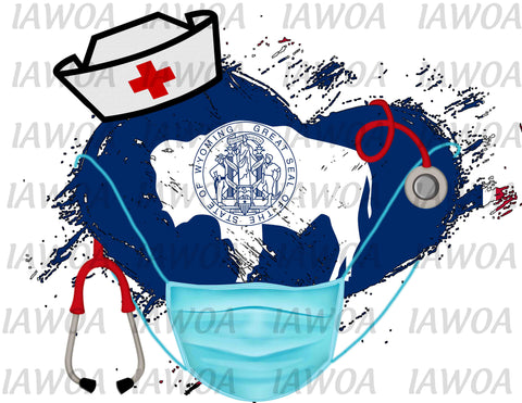 Nurse State Mask 50 - Wyoming Nurses Emergency Frontline Workers  - Sublimation Transfer Set/Ready To Press Sublimation Transfe