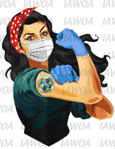 Rosie Riveter 32 - Certified Nursing Assistant Black Hair - Sublimation Transfer Set/Ready To Press Sublimation Transfer