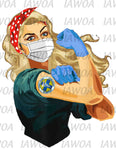 Rosie Riveter 33 - Certified Nursing Assistant Blonde Hair - Sublimation Transfer Set/Ready To Press Sublimation Transfer