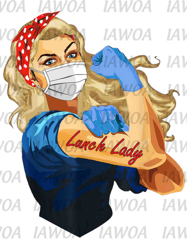 Rosie Riveter 39 - Lunch Lady Frontline Workers Blonde Hair - Sublimation Transfer Set/Ready To Press Sublimation Transfer