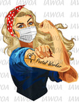 Rosie Riveter 45- Postal Worker Frontline Workers Blonde Hair - Sublimation Transfer Set/Ready To Press Sublimation Transfer