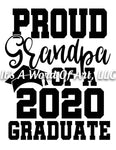 Seniors 2020 07 - Seniors Class of 2020 Proud Grandpa of a 2020 Graduate - Sublimation Transfer Set/Ready To Press Sublimation Transfer