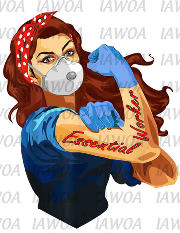 Rosie Riveter 68 - Essential Worker Emergency Frontline Workers - Sublimation Transfer Set/Ready To Press Sublimation Transfer