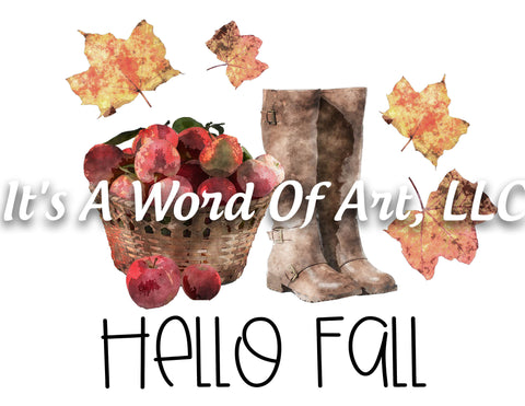 Fall 33 - Hello Fall Apples Jacket Boots Leaves Autumn - Sublimation Transfer Set/Ready To Press Sublimation Transfer Sub Transfer