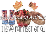 Fall 34 - I Love Fall Most of All Apples Boots Leaves Autumn - Sublimation Transfer Set/Ready To Press Sublimation Transfer Sub Transfer