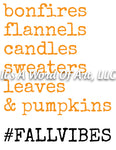 Fall 71 - Bonfires Flannels Candles Sweaters Leaves Fall Vibes- Sublimation Transfer Set/Ready To Press Sublimation Transfer Sub Transfer